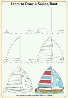 Perahu Dengan Gambar Buku Mewarnai Seni Gambar