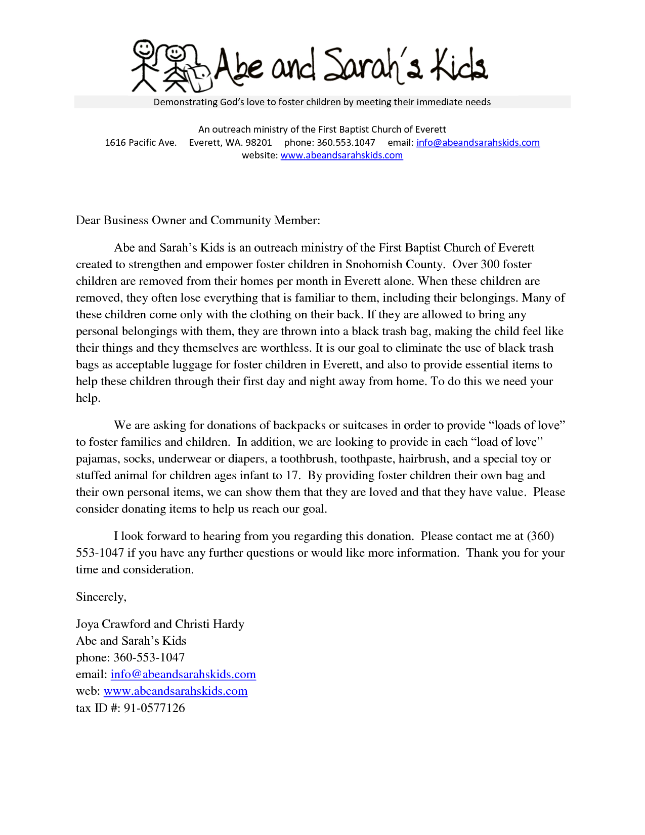 Sample Church Donation Letter | Donation Request Letter (Word Doc)