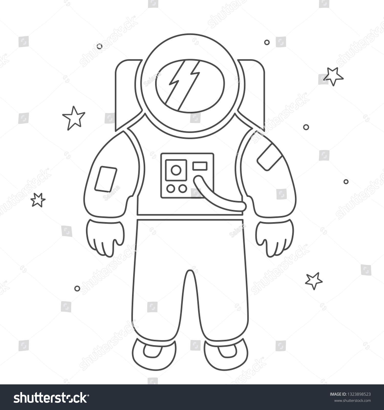 Vector illustration single flat black astronaut in open
