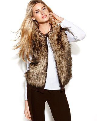 MICHAEL Michael Kors Petite Sweater, Sleeveless Faux-Fur Chain-Link Sweatervest - Petite Sweaters - Women - Macy's
