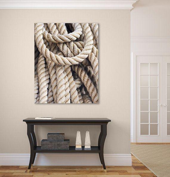 Nautical rope photograph large canvas wall art coastal beach decor beige brown black