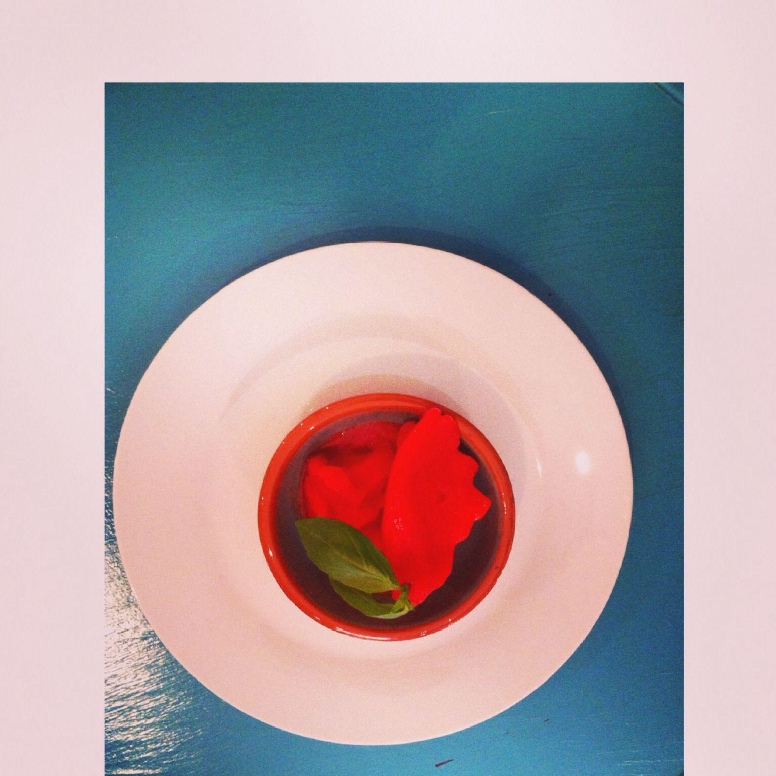 Strawberry icecream in Cafe Bella Juanita. Palma de Mallorca