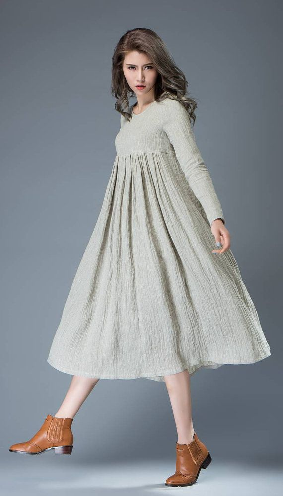 3e123b9fd7 Casual Linen Dress - Light Gray Flared Pleated Mid-length Long Sleeved High-Waisted  Loose-Fitted Handmade Plus Size Dress C809