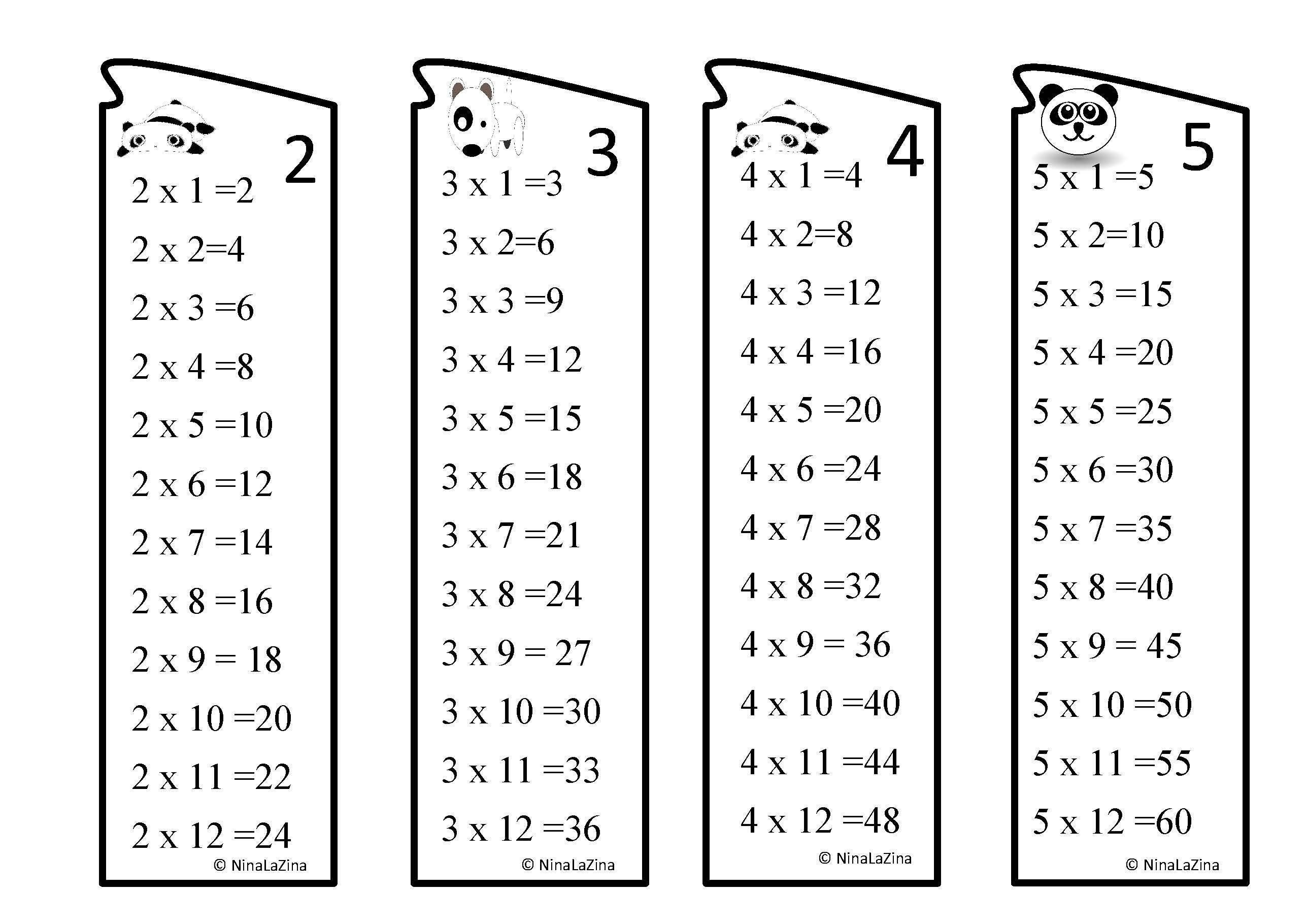 Printable Times Table Book Marks Multiplications Book