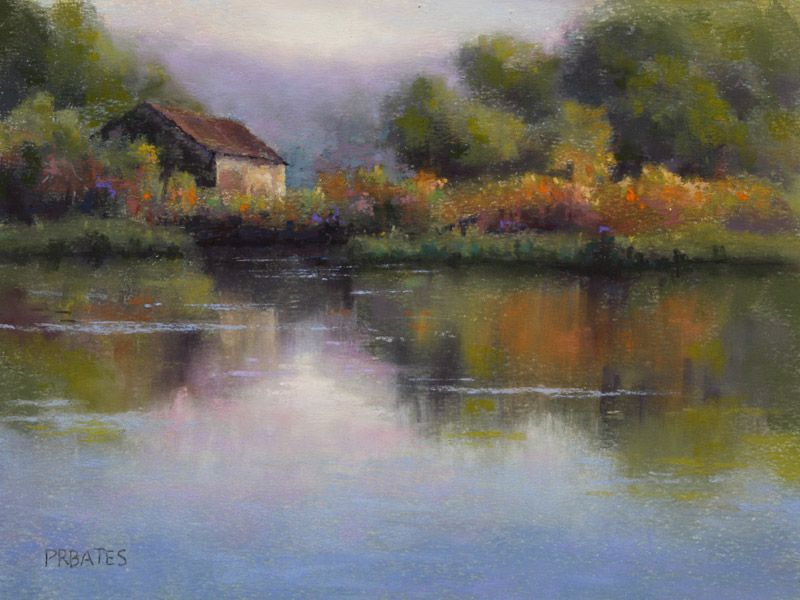 Artist Phil Bates Landscape Painting Example Of How Neutrals In A Landscape Painting Help Pure Colors Direct The V Pastel Painting Landscape Pastel Landscape