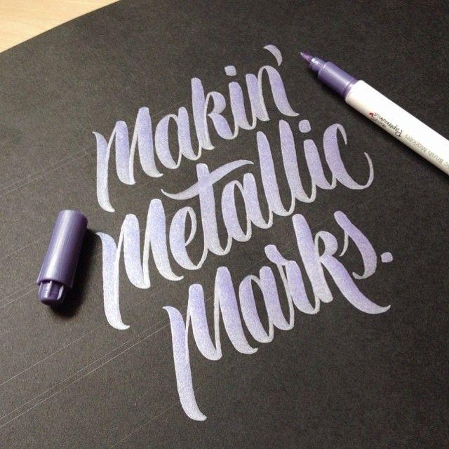 Hand type tumblr shiny marker metallic typography