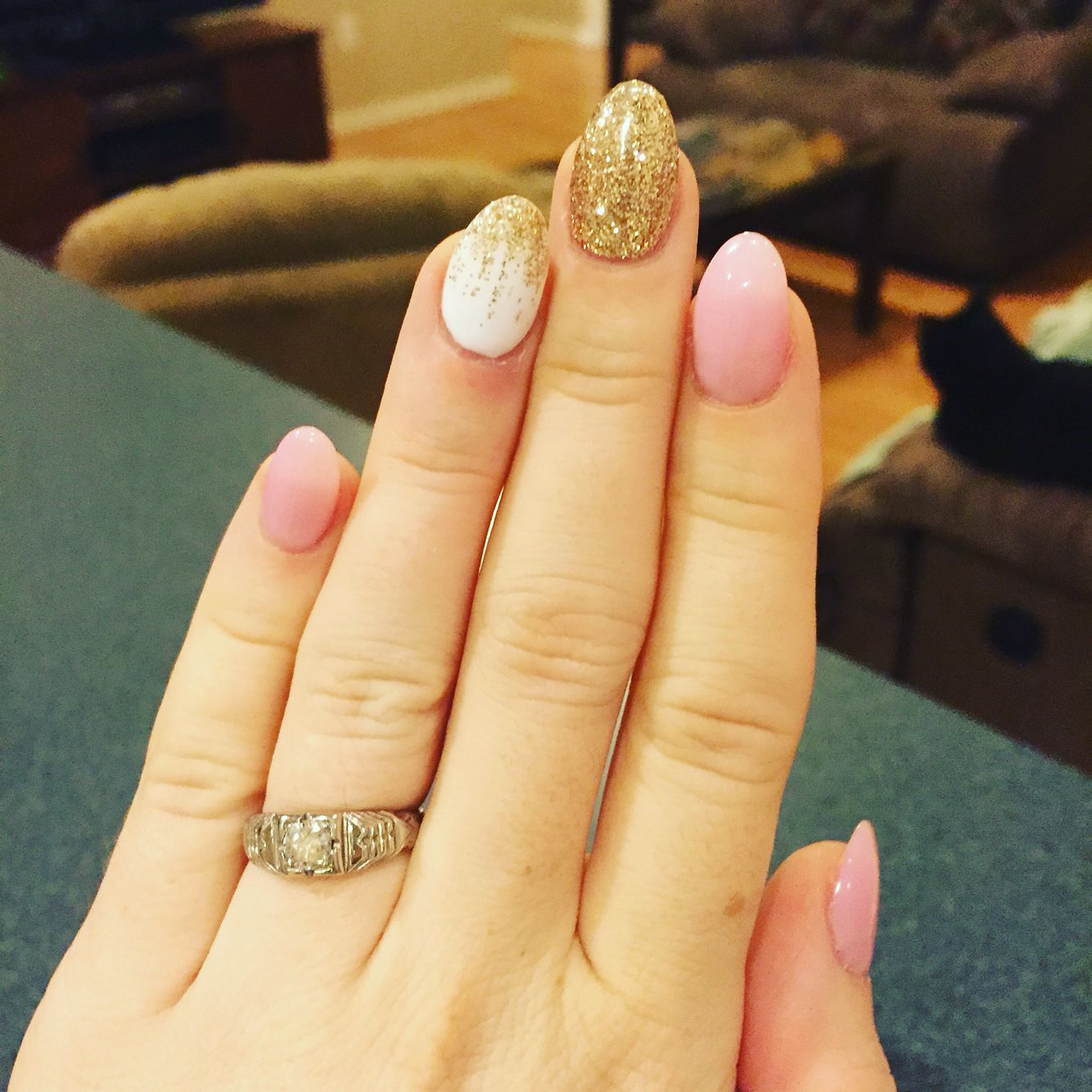 Pink, white and gold almond shaped nails #nails #almond | Nail ...