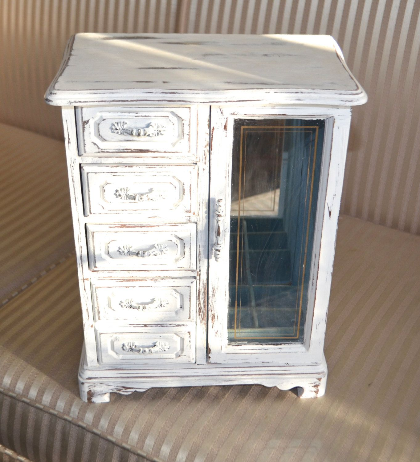 SHABBY CHIC JEWELRY Box Large Upright Distressed White Jewelry