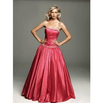 Elegante One Shoulder Petticoat Kleider Rot Lang | Kleider ...