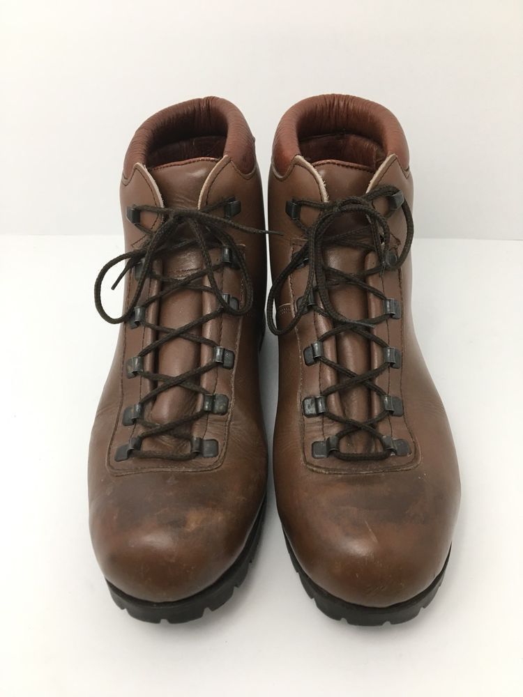 43a44d4a1a2 Vintage Alpine Hiking Boots Women's 10 Brown Leather Dunham Made In ...