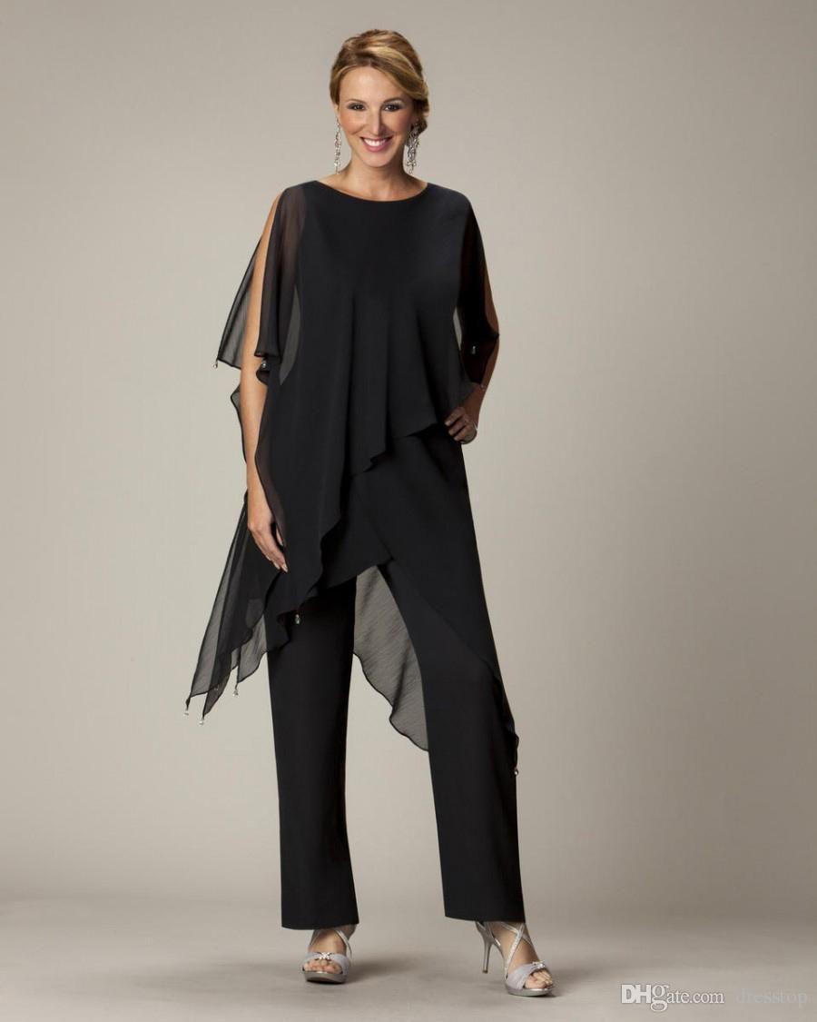 New Black Mother Of Bride Pant Suits Jewel Neckline Cheap Wedding ...