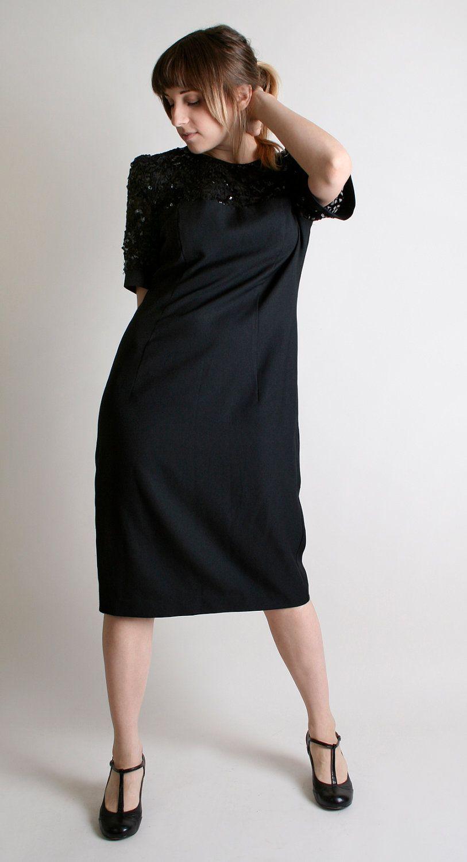 Vintage sequin dress black cocktail party dress large cocktail