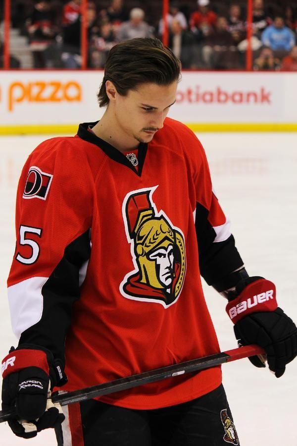 Erik Karlsson, Ottawa Sens.  Now there's a tough guy!  Love the stache!