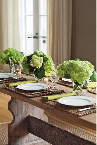 Ina Garten Barn dinner in the barn with green hydrangeas | flower arrangements