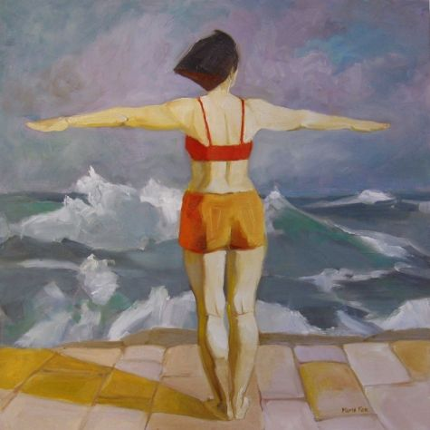 I Am Here Figurative Oil Painting 24 X Woman At The Sea Female