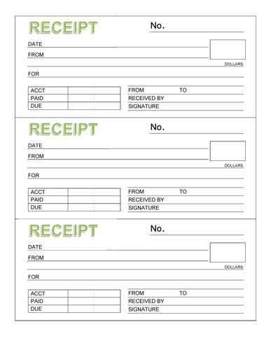 Rent Receipt Book (Three Receipts per Page) - Microsoft Word - downloadable receipt