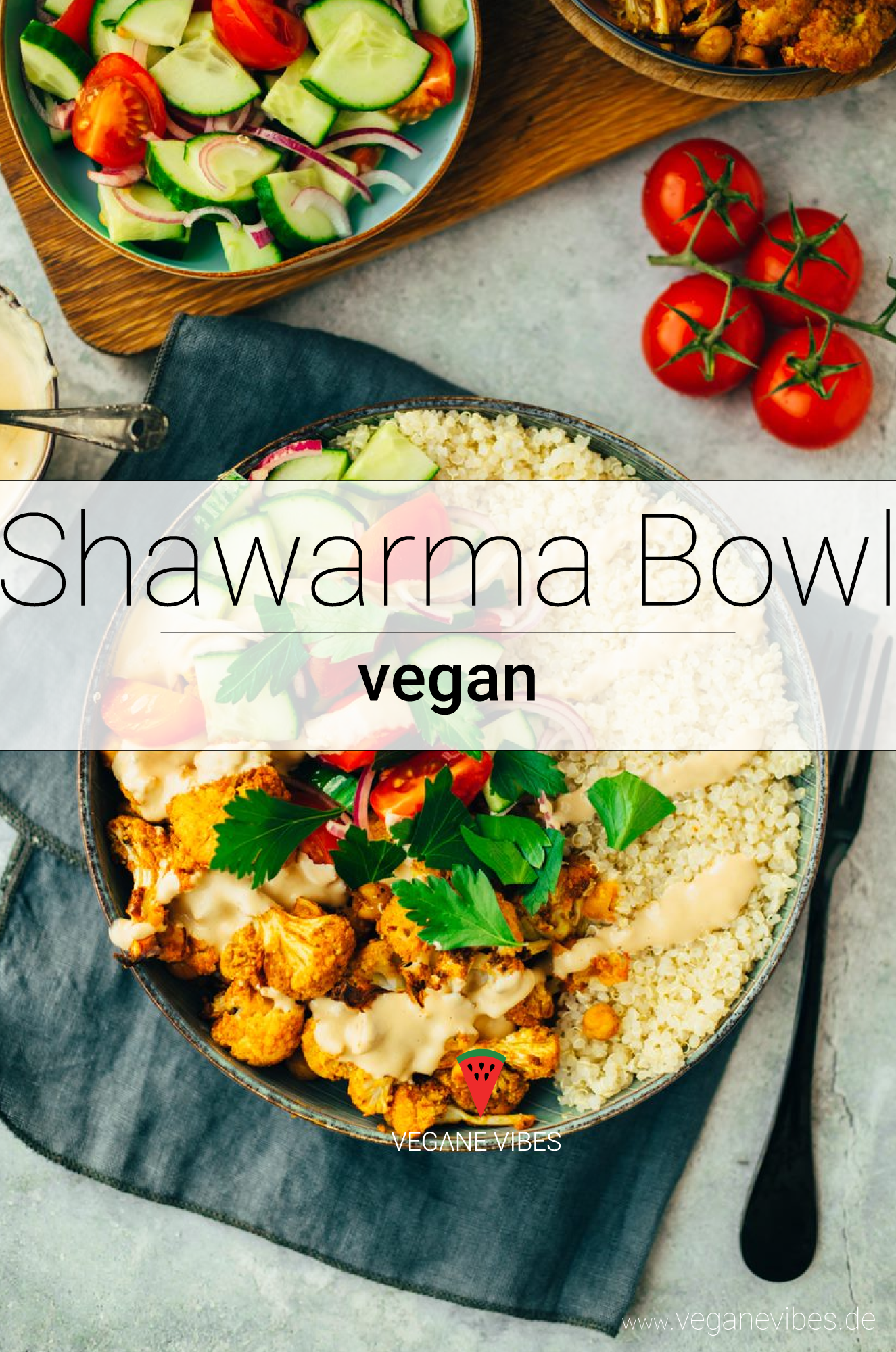 Shawarma Bowl mit Blumenkohl und Kichererbsen #schnellerezeptemittagessen
