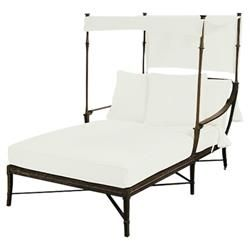 Jane Modern French White Canopy Metal Outdoor Double Chaise | Kathy Kuo Home  sc 1 st  Pinterest & Jane Modern French White Canopy Metal Outdoor Double Chaise ...