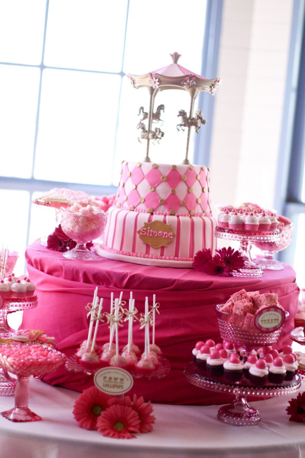 Carousel Party Dessert Table Pink And Gold Carousel