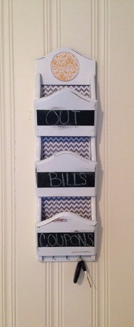 White distressed mail organizer with gray and white chevron and chalkboard strips.