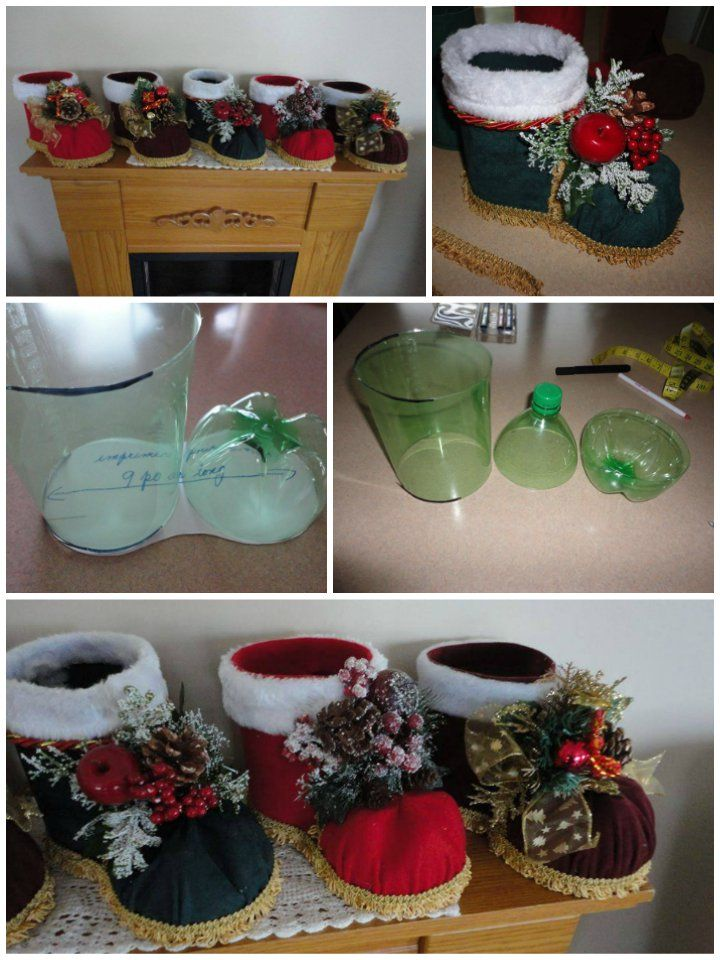 How to diy festive santa boots out of plastic bottle for Christmas bottle decorations