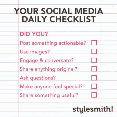 Daily Social Media Checklist From HttpStylesmithonlineCom