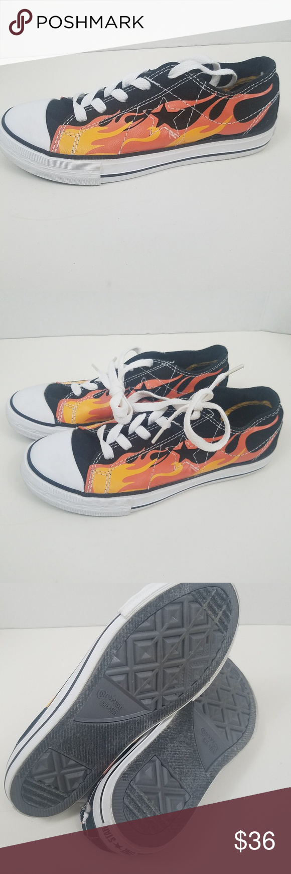 8aa5b7ea9a26 Converse One Star Shoes Sz3 Kids Flames Hard To Find Converse Shoes In Kids  Sz 3 Flames Graphics Pre owned Sneakers Converse Shoes Sneakers