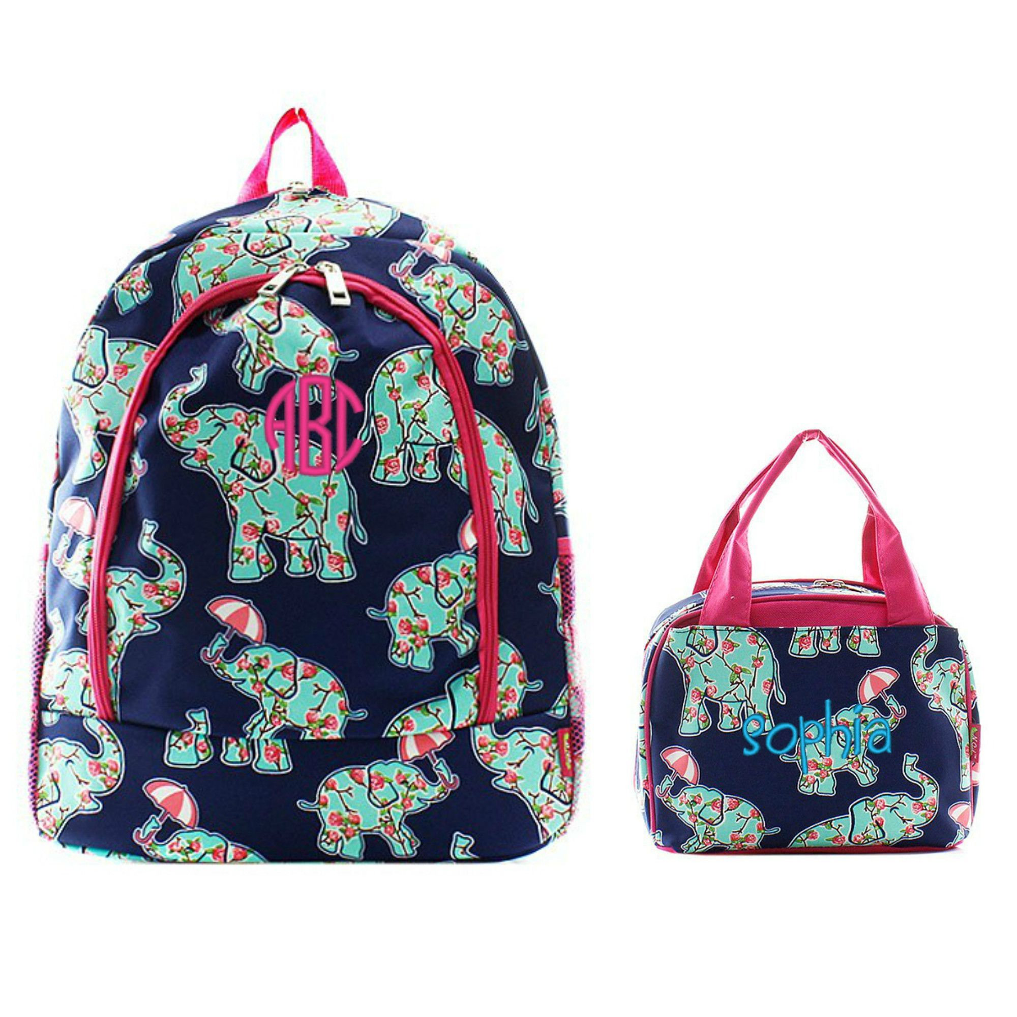 Matching Elephant Floral Pink Personalized Kids Backpack & Lunch ...