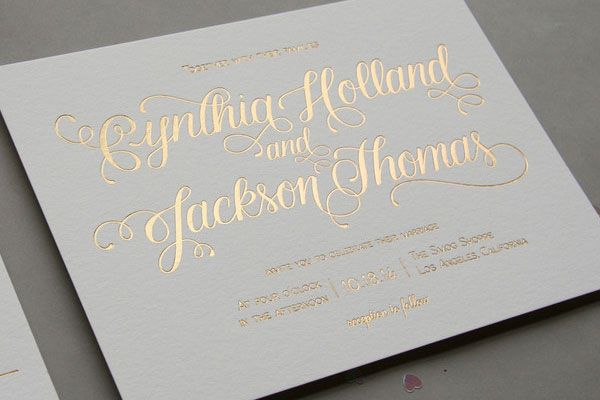 Gold Foil Aubergine Wedding Invitations