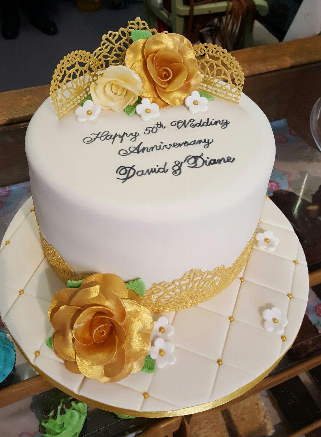 Golden wedding anniversary cake the best of the bygone bakery