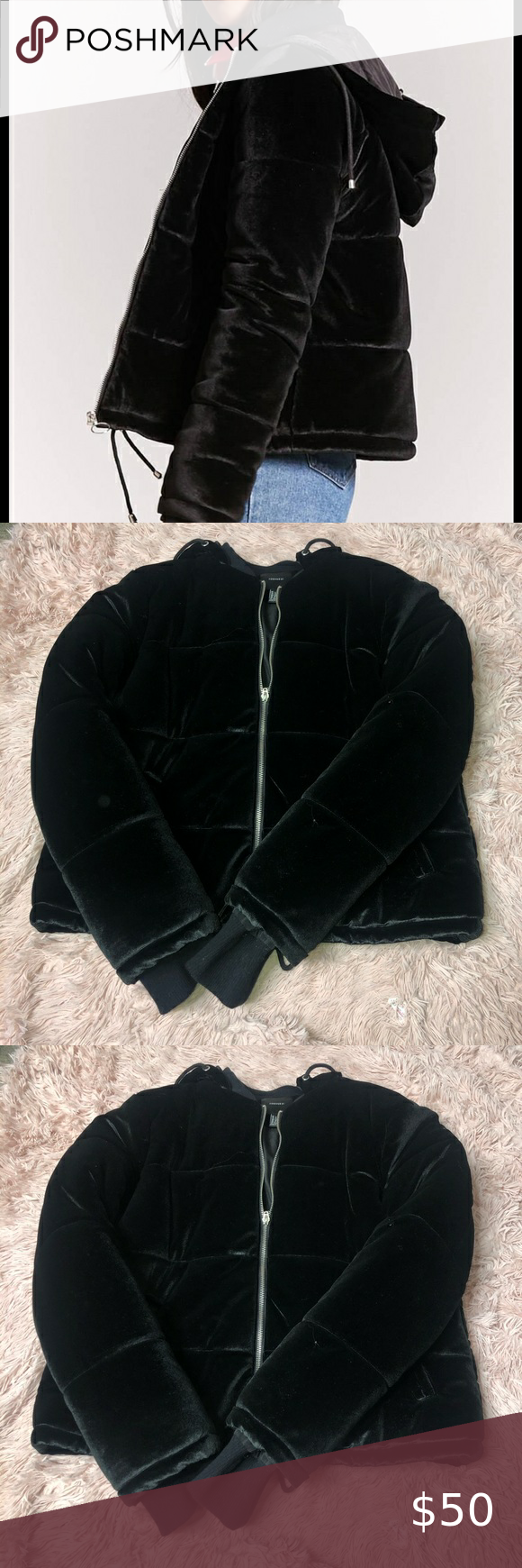 Nwot Black Velvet Puffer Jacket Puffer Jackets Forever 21 Jacket Jackets [ 1740 x 580 Pixel ]