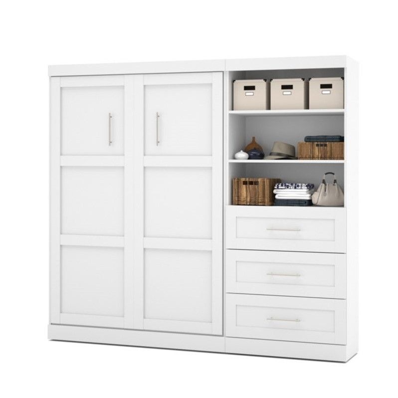 """Bestar Pur 95"""" Full Wall Bed With 3-Drawer Storage Unit In"""