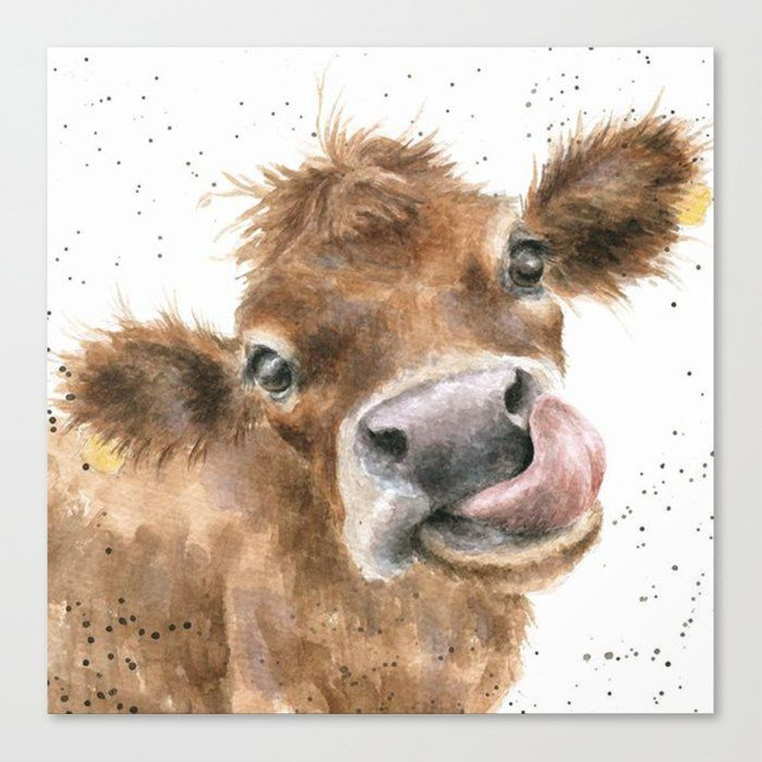Face Baby Cattle Canvas Print by Dod_mun - MEDIUM