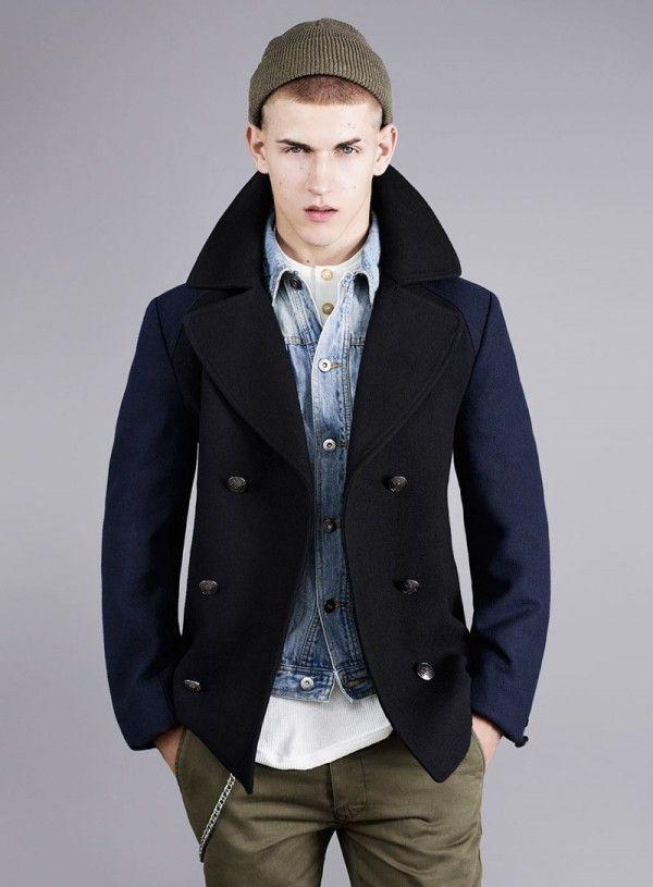 love the denim waistcoat with peacoat.....and navy and khaki combo ...