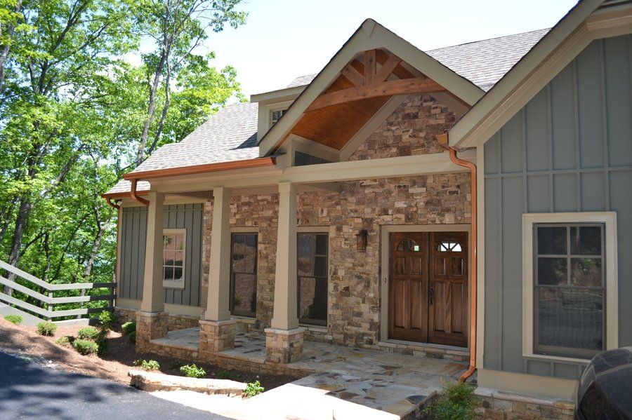 Ordinary Country Craftsman Home Plans #6: Fireplace Rustic Vaulted Cabin | Hillside Retreat Cabin U0026 Lodge House Plan  - #ALP-096J - Chatham ... | Exterior Likes | Pinterest | Rustic Style, ...