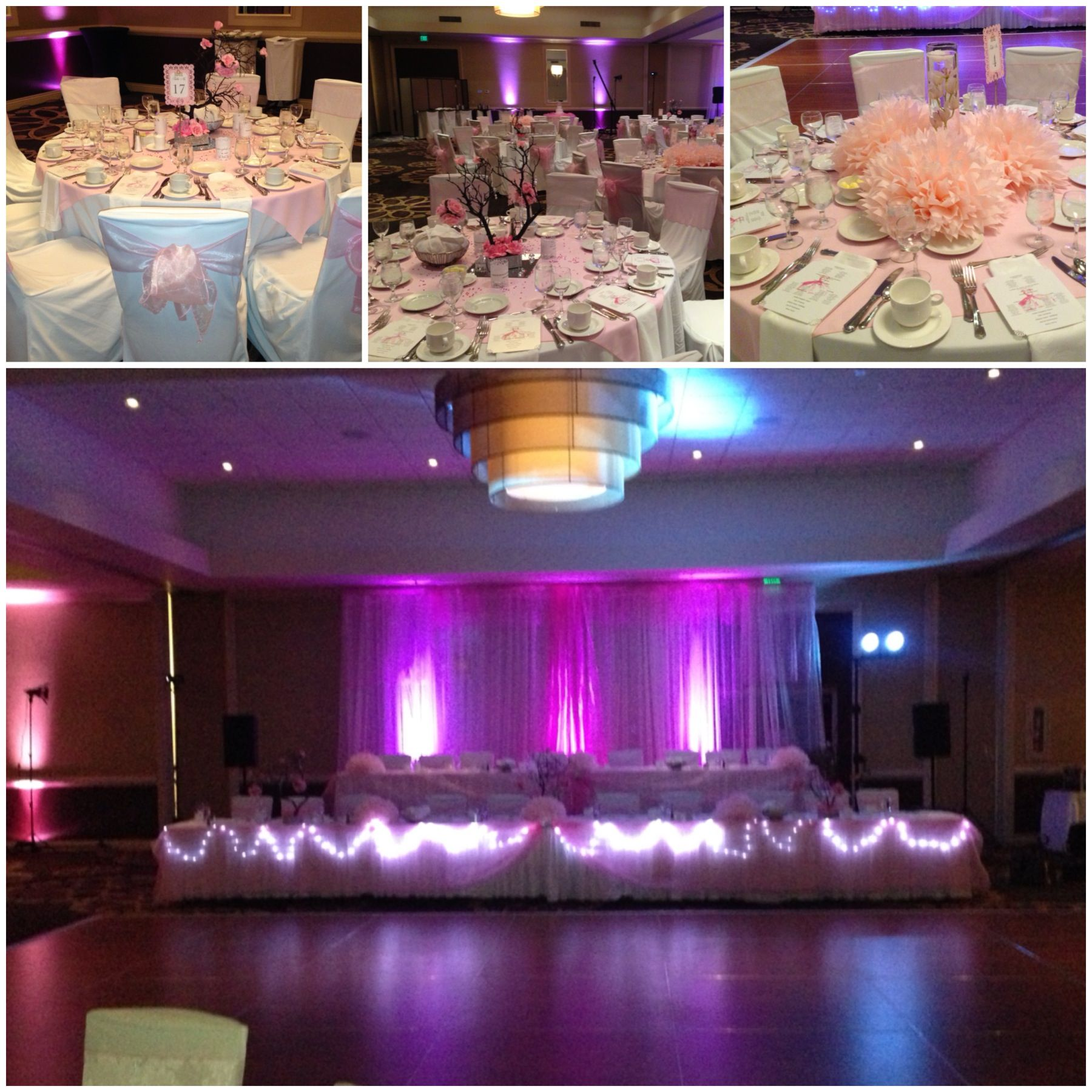 Gorgeous Reception Hall Decorations in Light pink with spotlights