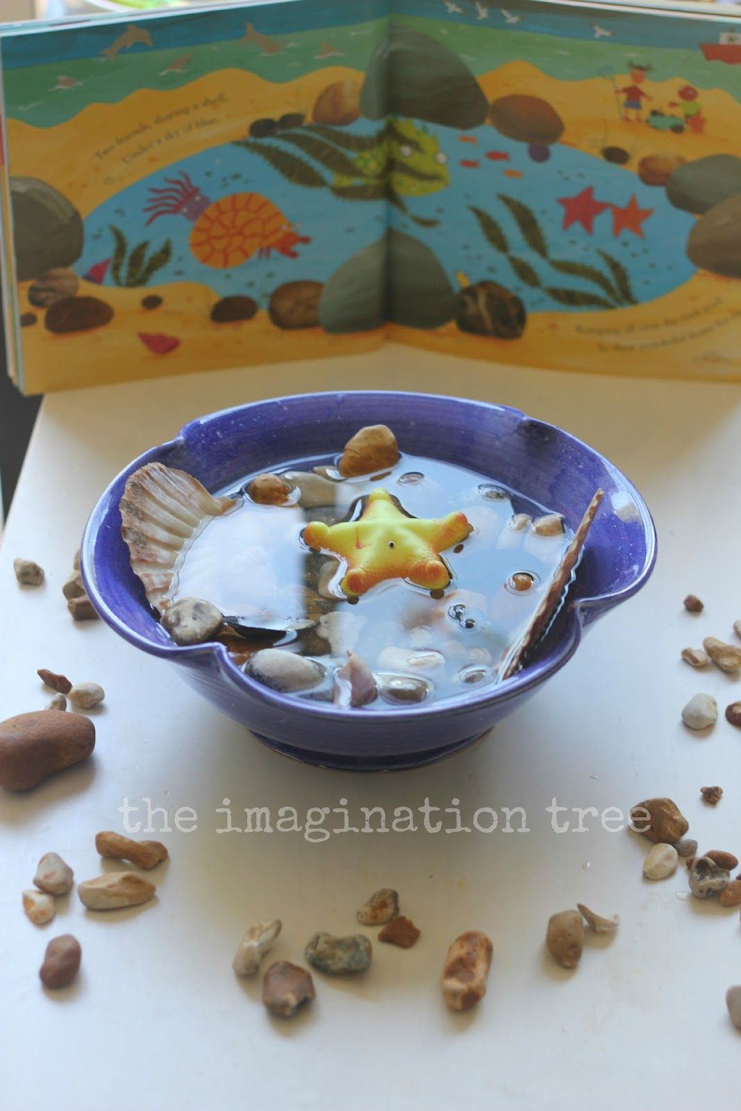 The Imagination Tree: Rock Pool Sensory Small World Play - with Sharing a Shell, a really lovely book :)