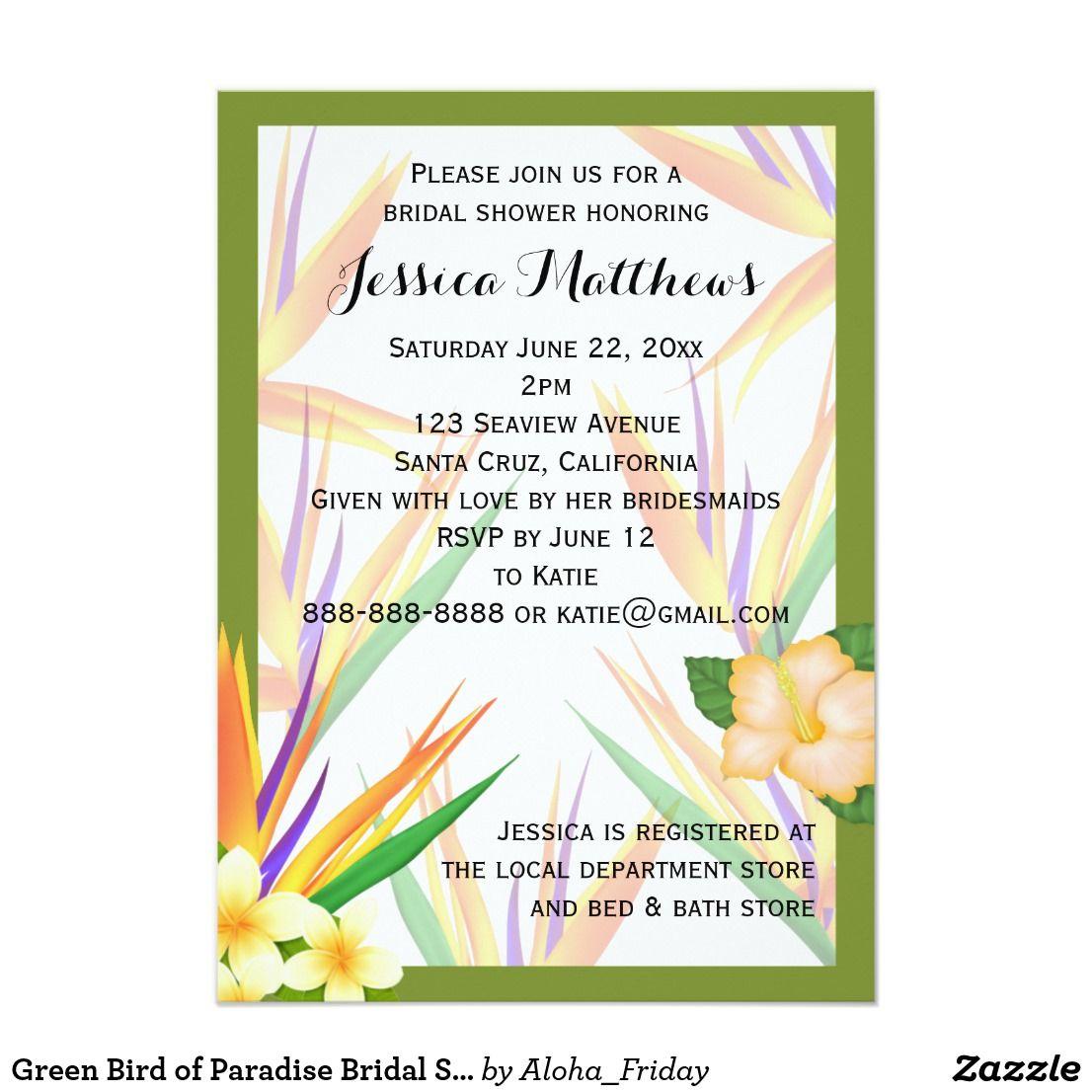 Green Bird of Paradise Bridal Shower Wedding Invitation   Wedding ...