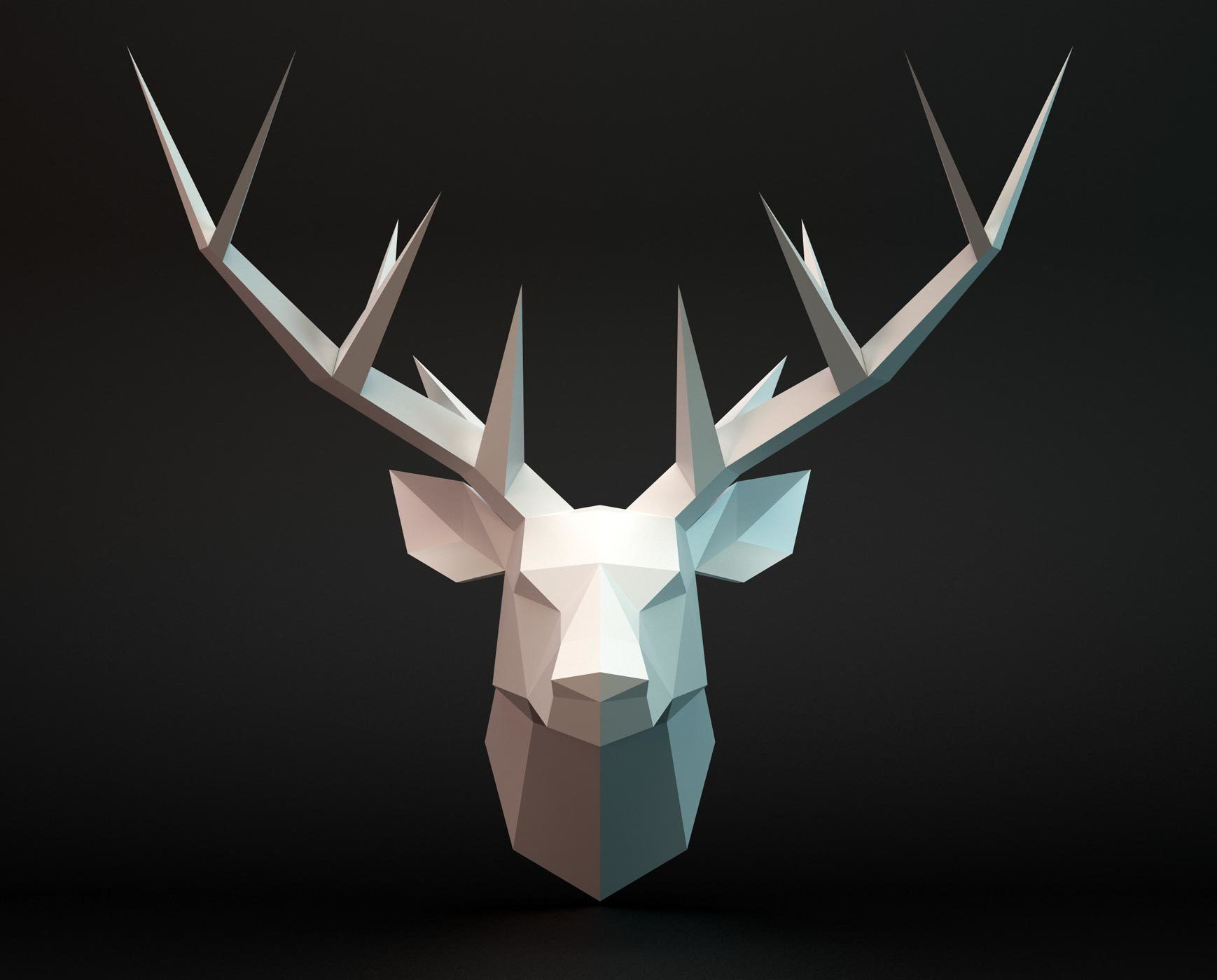 Deer Head 3d Model Geometric Deer Geometric Deer Head Steel Art