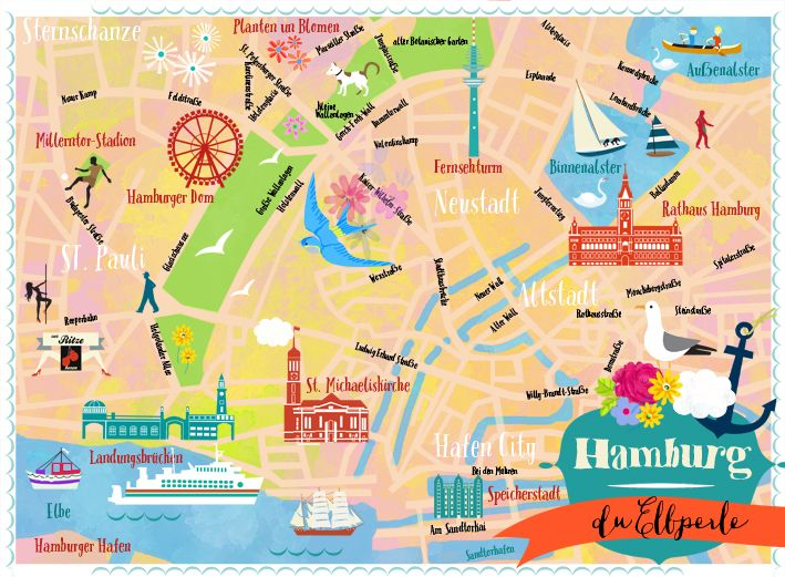 hamburg map by elisandra 2014 hamburger schnack pinterest hamburg hamburg map und hamburg. Black Bedroom Furniture Sets. Home Design Ideas