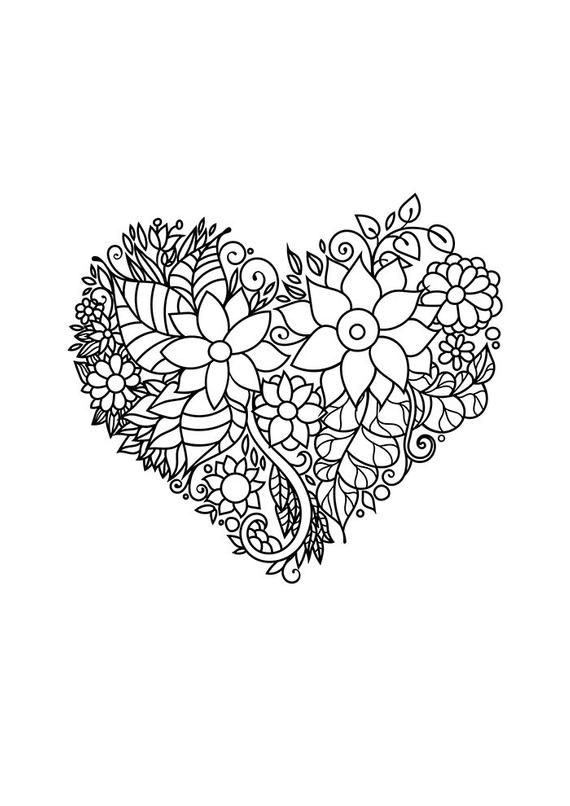 Zentangle inspired floral heart coloring page. Flowers ...