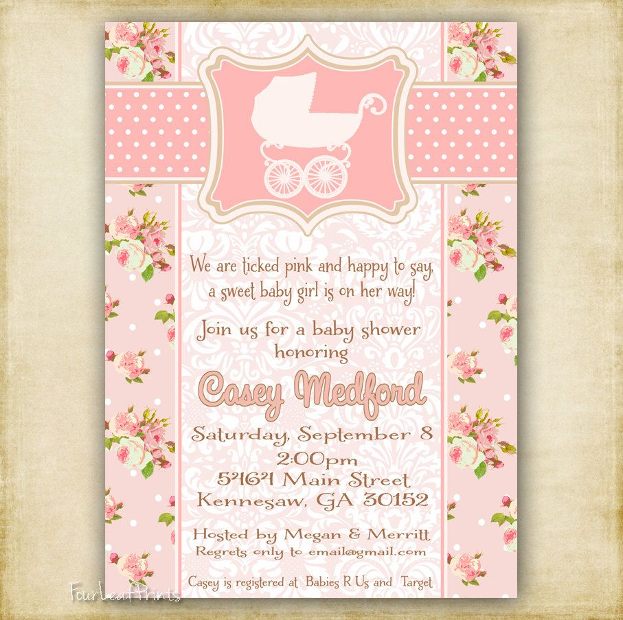 pink shabby chic vintage baby carriage - baby shower invitation, Baby shower invitations