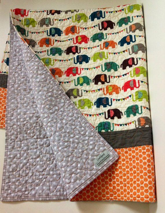 Baby Quilt, Organic, Modern, Safari Soirée, Elephun, Baby Blanket ... : organic baby quilts - Adamdwight.com