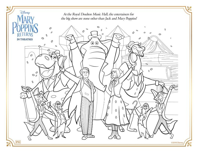 mary poppins music hall coloring page