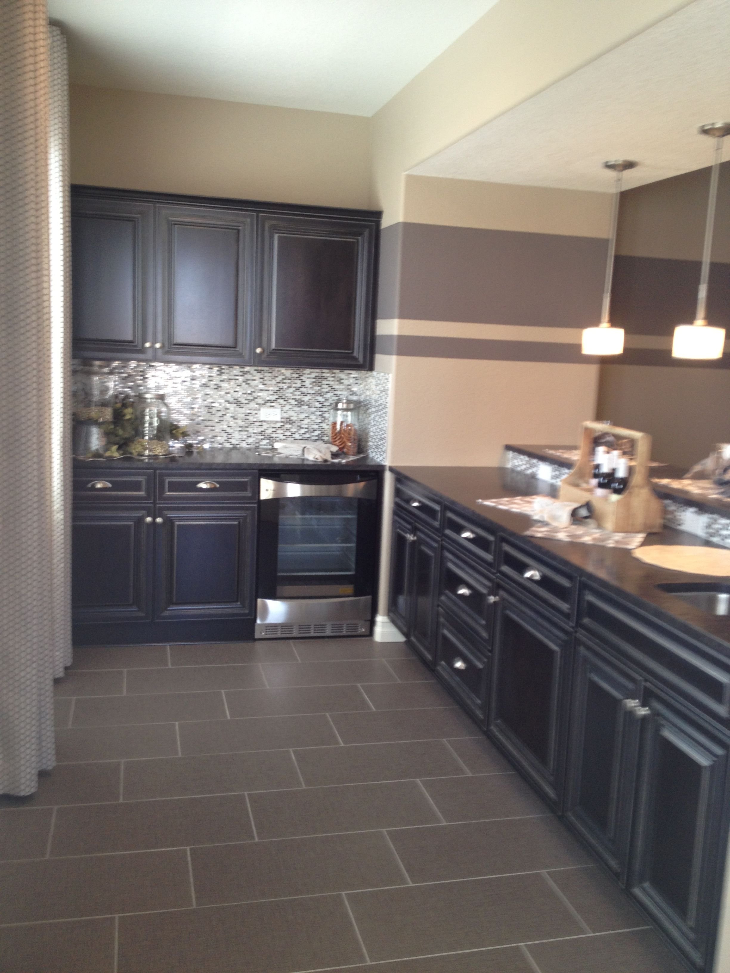 Bat Wet Bar Area With Dark Cabinets And Horizontal Stripes Perfect For Entertaining Remodel Ideas