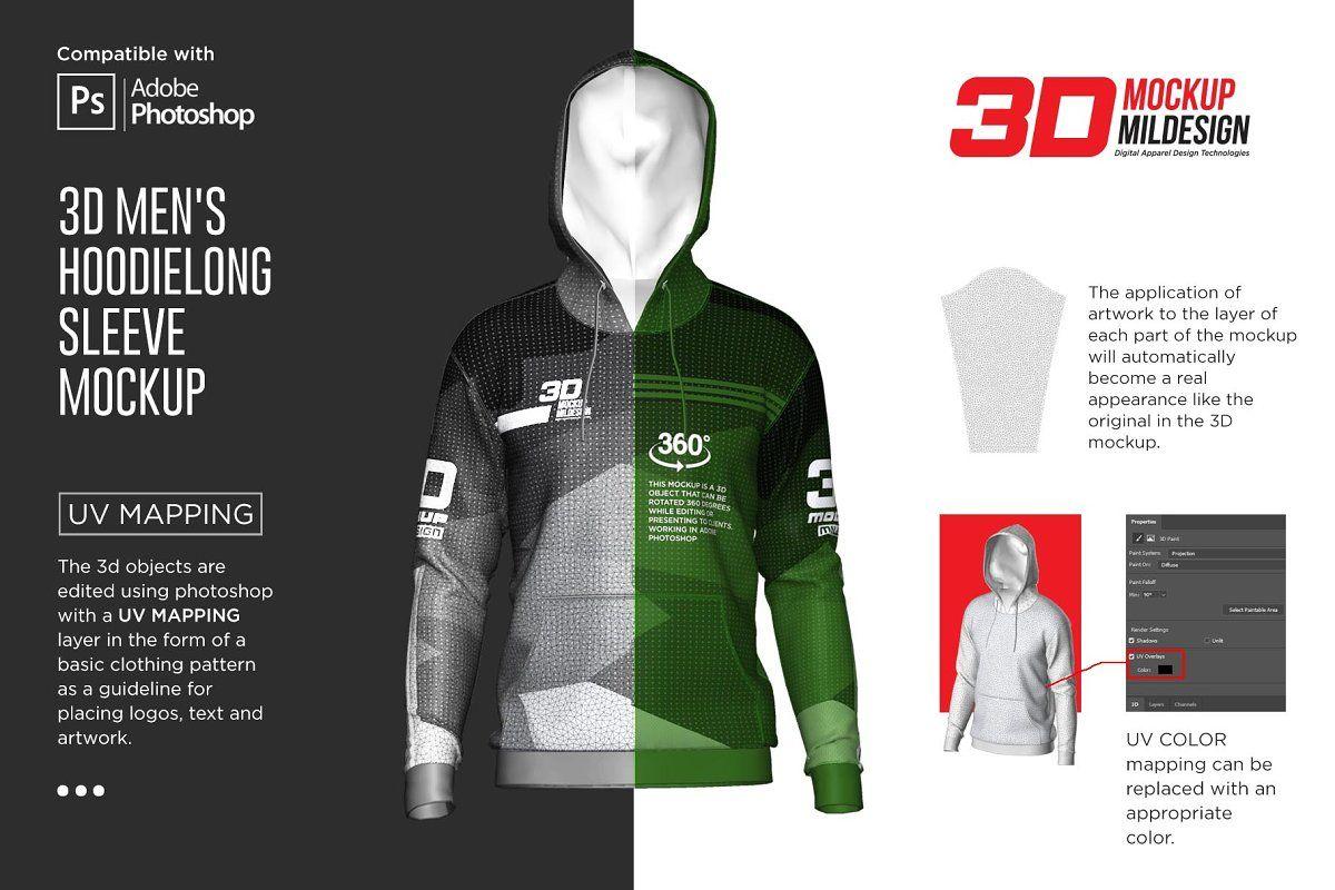 Download 3d Men S Hoodie Long Sleeve Mockup Sponsored Adobe Photoshop Mockup File In 2020 Long Sleeve Hoodie Hoodies Men Sleeves