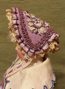 Beautiful Fanchon Style Victorian Bonnet for French Fashion (item #1287125)