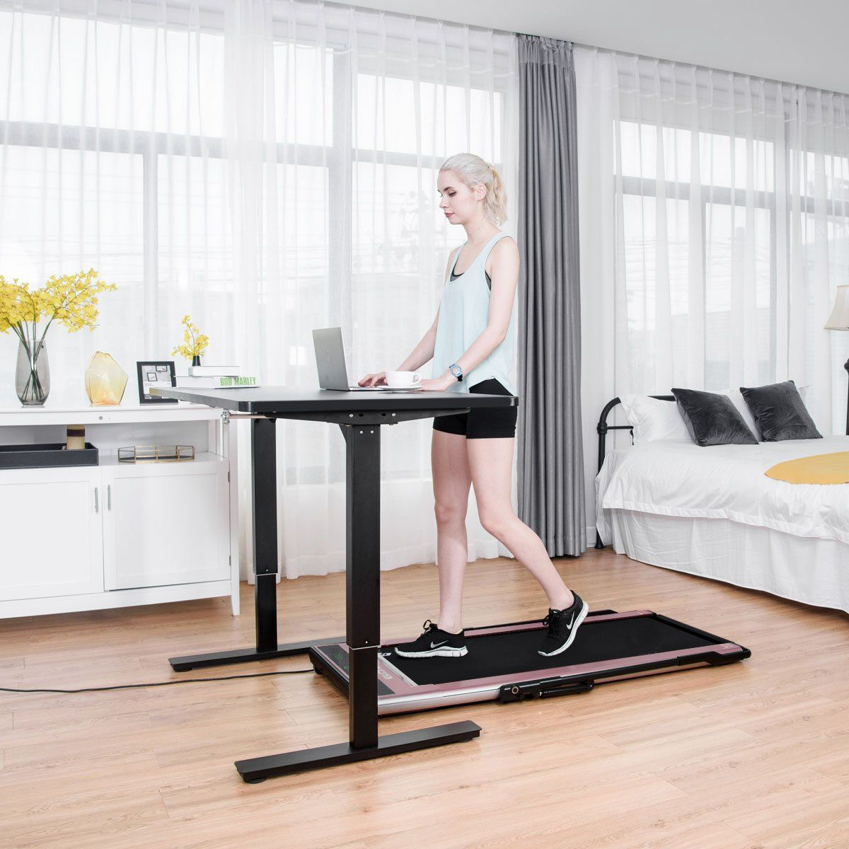 Gymax Smart Flat Electric Fitness Treadmill Infrared