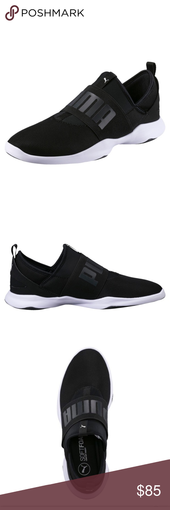 6a36b3c7c556 Womens Black   White Puma Mesh Slip on -Perfectly brand new puma soft foam  comfort insert slip on . -Perfect for Running or a casual day. Smoke free  home .
