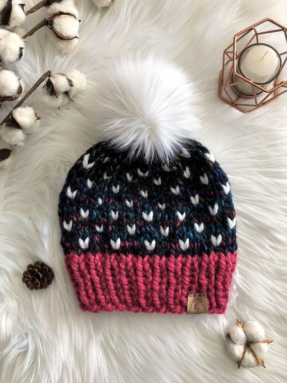 ADULT Faux Fur Pom-Pom Hat Knitted Hat for Women Pom Pom Beanie Pink Navy  Colorful Beanie Fall Winte 7eeee912d